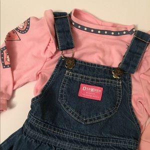 Vintage OshKosh Overall Dress & Shirt Set 2T USA